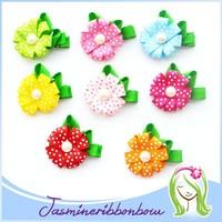 Polk Dot Flower Hair Bows Flower Hair Clip Set of Bows Flowers Childrens Accessory Gift Set Ribbon Sculpture Hair Bow Gift Set