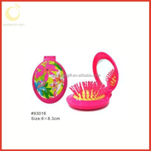 2015 hot sell children cute professional mini travel foldable hair brush with mirror