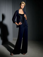 new designer long sleeve formal mother of the bride chiffon pant suits