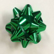 Green Matte metallic solid plain Color with six layers star ribbon bow for Christmas decoration and party celebration