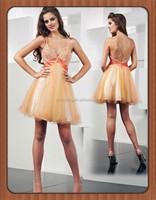 HT2214 Sexy bling bling knee length short chiffon cocktail dresses