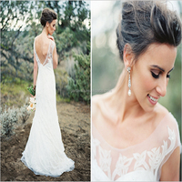 Fashion Scoop Neck Cap Sleeve Backless Lace Plus Size Cheap Wedding Dresses Under 100 Bridal Dresses (MAW0163)
