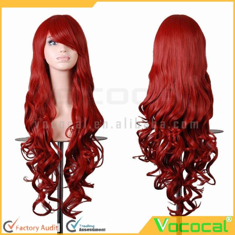 80cm 긴 패션 합성 화려한 붉은 보라색 갈색 검은 색 파티 ...