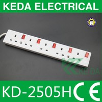 Electrical equipment best price 13 amp 5 Gang UK switched socket with individual switch