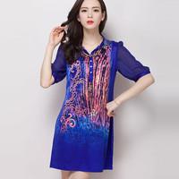 High quality latest style summer fashion leopard striped elegant women's silk dress