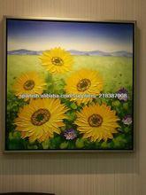 girasol pinturas al óleo hechas a mano sobre tela