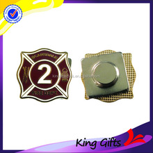 Fire department gold lapel pin badge with apparel magnet