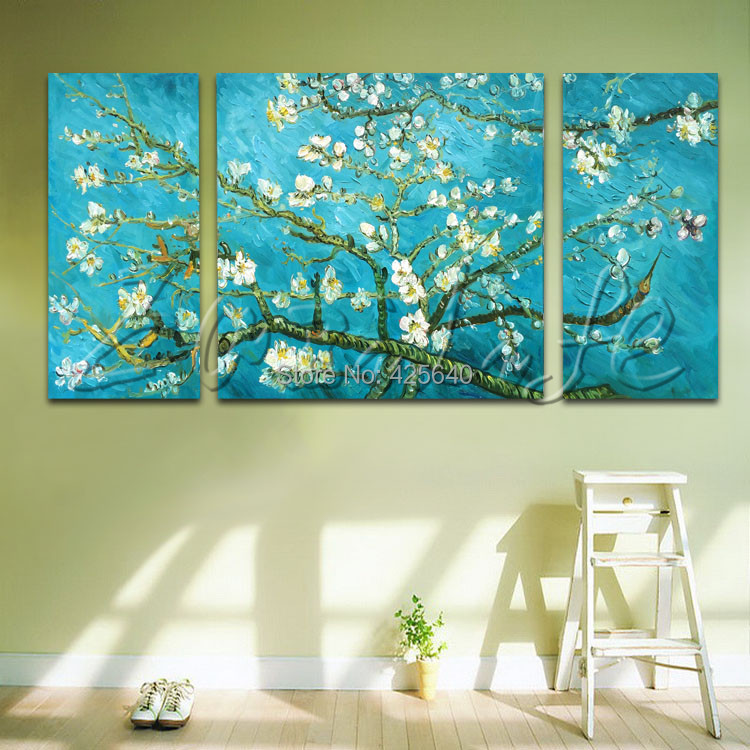 Buy 3 Piece Hand Painted Palette Knife White Tree Oil Painting Wall Art Canvas Picture Modern Abstract Home Decor Living Room Set 2 cheap