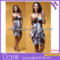 Hermosa último vestido diseños de correas espaguetis cabestro Impreso vestir para las mujeres