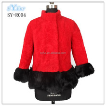 fashion 100% Australian imported sheep fur ladies pashm cashmere with smooth real fox fur coat and jacket for women