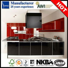 SK255 high gloss red and black rta kitchen cabinet australian plywood kitchen cabinets