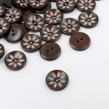 12 pcs Wooden Buttons, 25mm, Painted Petals, Dark brown, 2 Hole