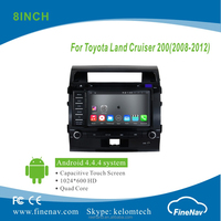 "8"" Android 4.4.4 Car DVD player with Quad-core 1024*600 Resolution 16GB Flash Mirror Link for Toyota Land Cruiser 200"