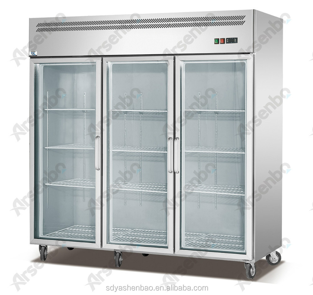 Glass Door Fridge Commercial Three Glass Door Display