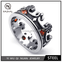Jewelry Mens Cubic Zirconia Stainless Steel Ring, Vintage Crown, Red Black Silver