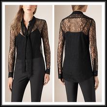 Guangzhou senhoras fornecedor de vestuário laço Long Neck moda italiana Sexy modelos blusa com laço preto NT6594