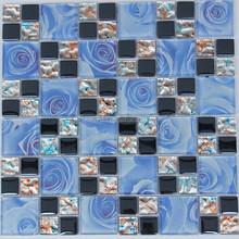 Modern house design blue rose wall mosaic glass