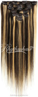 Rhythmhair 2015 best design mixed color brazilian remy hair extension top quality grade 6A clip in hair extension