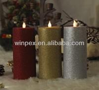 Fluorescent Sparkling Glitter Flameless Flickering LED Christmas Candles