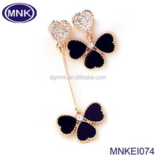buy fashion stainless steel jewelry clover earring findings