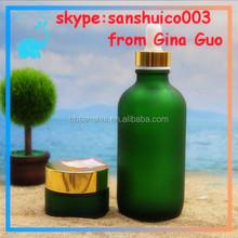 30ml green Glass Bottles Boston Round &cosmetic jar glass hot sale