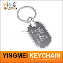 Transparent or Milk Cover silver customized metal keychain