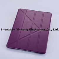 Newest Fashion For iPad 4 iPad 3 iPad 2 Folding cover Magnetic Leather case with Sleep/Wake function Hard shell w/stand