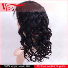 VIP Sister Hair Wigs Brazilian Virgin Hair Natural Color Loose Curl Full Lace Wigs