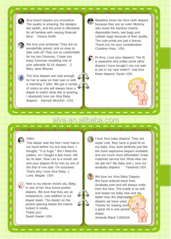2015 Hot Sale Alva How to Use Cloth Diapers Baby Fine Diaper Sleepy Baby Diaper