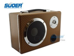 Suoer Portable Leather Subwoofer 5 Inch Square Three-used Subwoofer with Plug-in Card