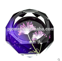 2015 Luxury high quality crystal ashtry with purple flower picture for business gift & room decoration