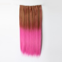 Fashion 5 Clips-on Synthetic Hair Extension Two-tone Color Hairpiece 20 Colors