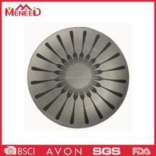 OEM & ODM round shape fork print restaurant use plastic unique design ware plate