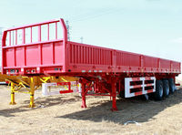 3 axles platform side wall open lowbed semi trailer with rear door