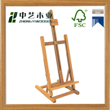 Wood Easel for Floor with Bifold Design, Adjustable Pegs