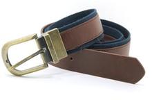 Men's PU webbing belt with brass reversible buckle YJ-K0557-2