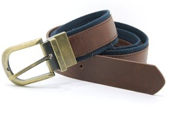 Men's PU webbing belt with brass reversible buckle YJ-K0557-2