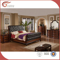 antique bedroom furniture set ,classic bedroom whole set furniture, classic PU leather bed (WA145)