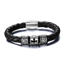 New products 2016 mens leather bracelet,classic bio magnetic leather bracelet with cross for men