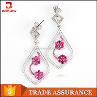 Fashion accessory in Guangzhou silver flower earrings designs for girls