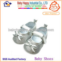 Hot selling beautiful bowknot shiny fancy baby girl shoes