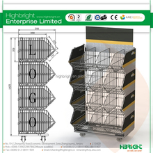 collapsible metal basket display stand,wire mesh stacking basket stand,mobile tiered wire basket display shelf
