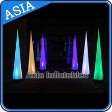 multi-colors inflatable air cone with led light for decoration, glowing inflatable cone decor