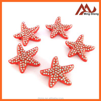 fashion red metal starfish pin badges for garment decoration