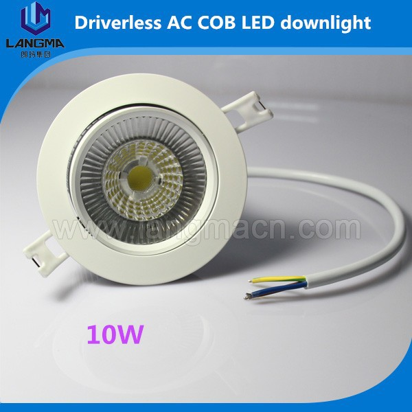 10W AC COB Driverless LED Downlight Rotatable 30 Degree COB Recessed Downligh