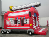 Inflatable Fire engine bouncer, bounce house for kids B1147