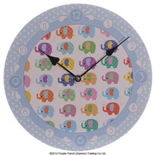 MDF Picture Clock Cute Dotty Elephants