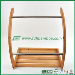Fuboo bamboo wood wall mounted towel with silver chrome bar rail bathroom accessories