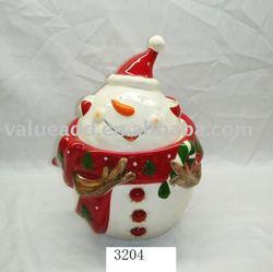 christmas ceramic snowman cookie jar candy jar