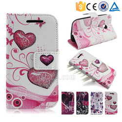 Glitter powder colorful printing pu leather wallet case for ZTE Blade L4